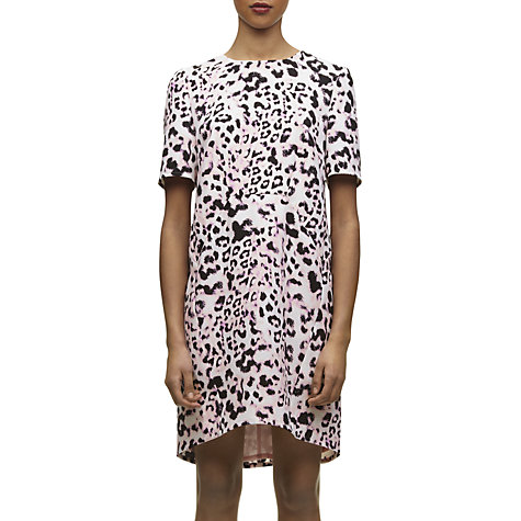 Buy Whistles Meghan Brushed Fur Dress, Multi Pink Online at johnlewis.com