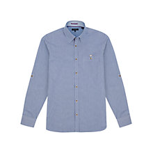 Buy Ted Baker Micro Check Long Sleeve Shirt, Bright Blue Online at johnlewis.com