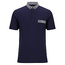 Buy Fred Perry Vintage Print Collar & Pocket Polo Shirt, Carbon Blue Online at johnlewis.com