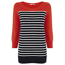 Buy Oasis Colour Block Breton Top, Mid Red Online at johnlewis.com