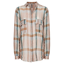 Buy Mango Linen Blend Checked Shirt, Natural White Online at johnlewis.com
