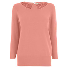Buy Oasis Lace Insert Collar Top, Coral Online at johnlewis.com