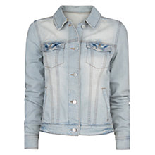 Buy Mango Bleached Denim Jacket, Light Pastel Blue Online at johnlewis.com
