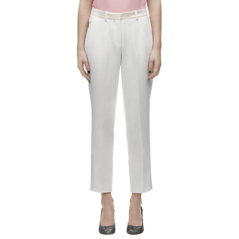 Buy Whistles Olivia Satin Trim Trousers, Ivory Online at johnlewis.com