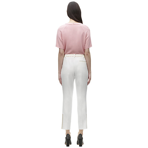 Buy Whistles Wool Olivia Satin Trim Trousers, Ivory Online at johnlewis.com