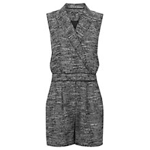 Buy Warehouse Tweed Playsuit, Light Grey Online at johnlewis.com