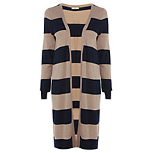 Buy Oasis Striped Edge to Edge Cardigan, Camel Online at johnlewis.com