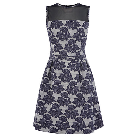 Buy Warehouse Floral Jacquard Dress, Blue Online at johnlewis.com