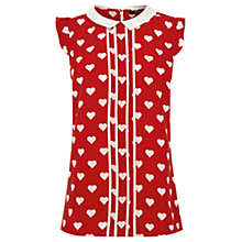 Buy Oasis Heart Print Blouse, Multi Red Online at johnlewis.com