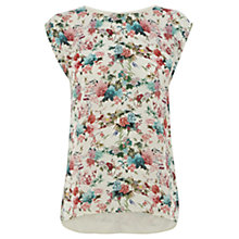Buy Warehouse Japanese Floral Print T-Shirt, Cream Online at johnlewis.com