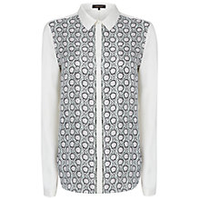 Buy Jaeger Cut Floral Print Blouse, Ivory Online at johnlewis.com