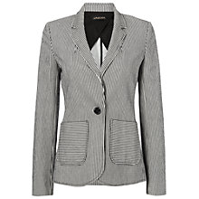 Buy Jaeger Striped Seersucker Jacket, Black / Ivory Online at johnlewis.com