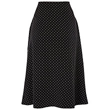 Buy Jaeger Spot Silk Skirt, Black / White Online at johnlewis.com