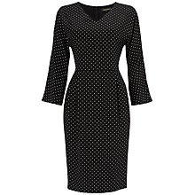 Buy Jaeger Spot Silk Dress, Black / White Online at johnlewis.com