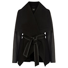 Buy Oasis Belted Drape Coat, Black Online at johnlewis.com