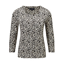 Buy Viyella Monochrome Floral Jersey Top, Black Online at johnlewis.com