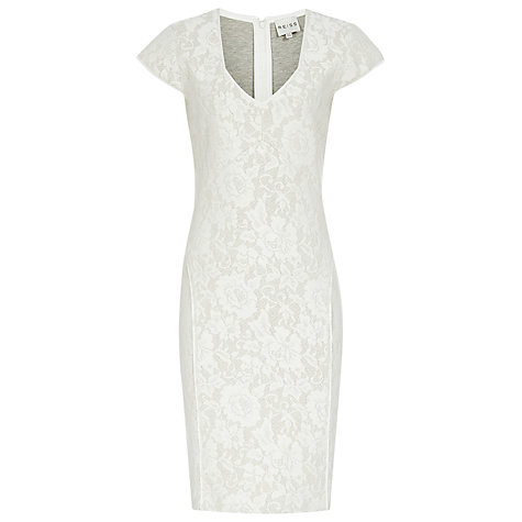 Buy Reiss Lace Jersey Fitted Dress, White Online at johnlewis.com