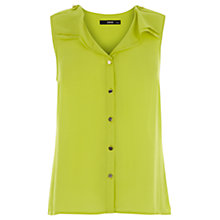 Buy Oasis Sleeveless Frill Shirt, Mid Yellow Online at johnlewis.com