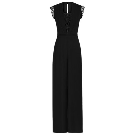 Buy Reiss Lace Panelled Orson Jumpsuit, Black Online at johnlewis.com