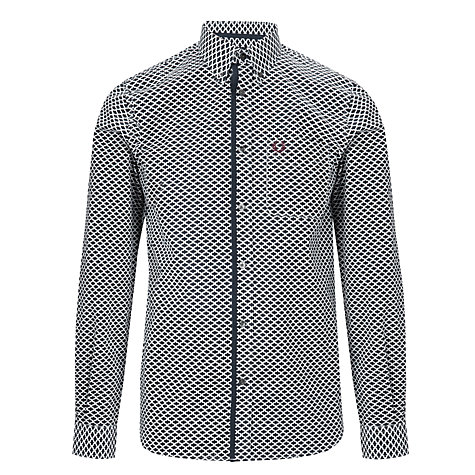 Buy Fred Perry Archive Print Long Sleeve Shirt, Navy/White Online at johnlewis.com