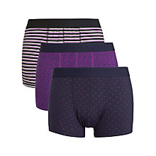 Buy John Lewis Patterned Trunks, Pack of 3, Navy/White/Purple Online at johnlewis.com