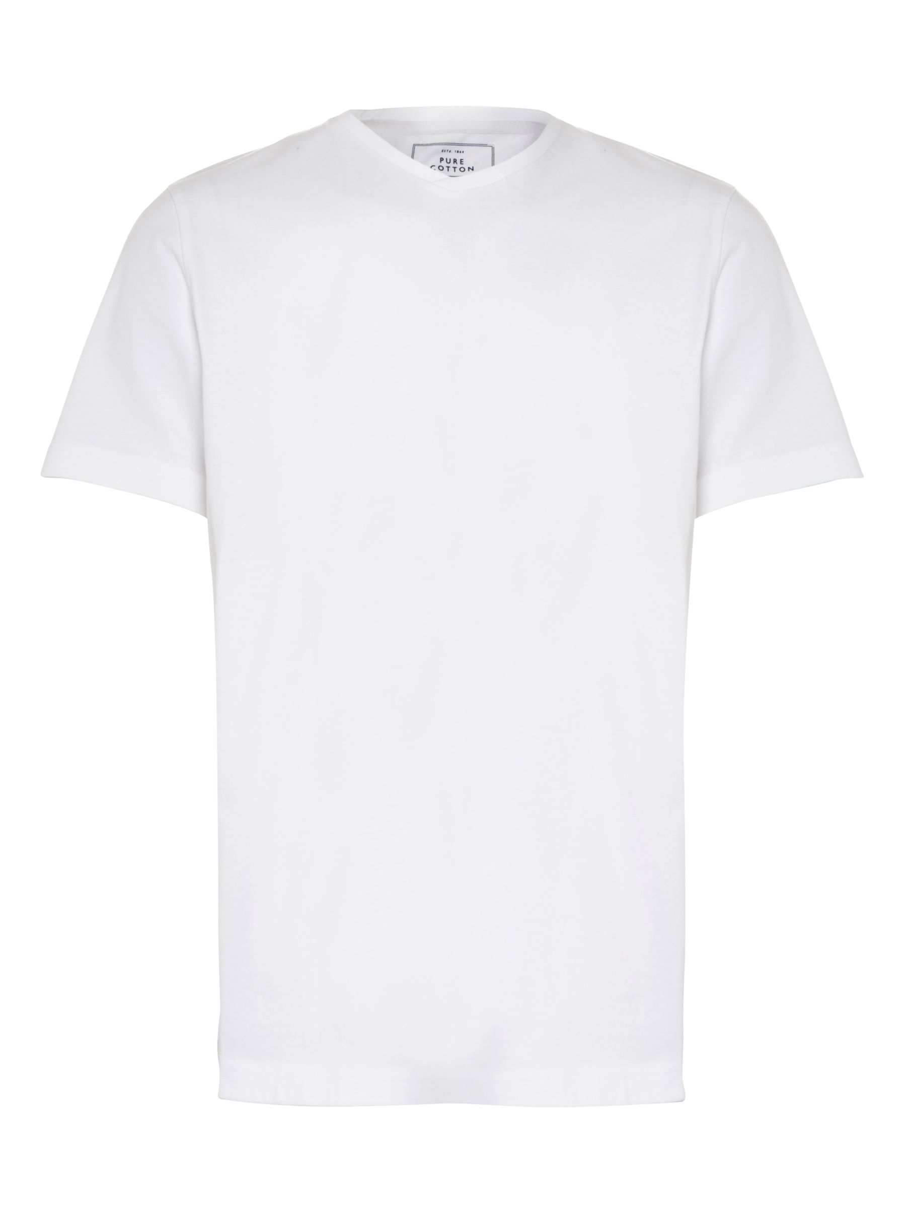 John Lewis Jersey V-Neck Cotton T-Shirt, White