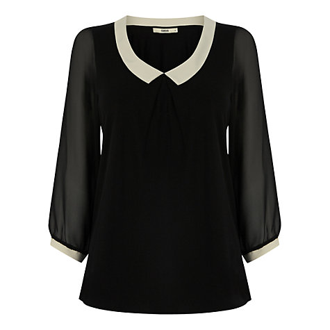 Buy Oasis Tipped Collar Blouse, Multi Black Online at johnlewis.com