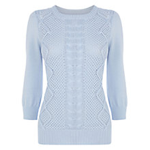 Buy Oasis Cable Knit Jumper, Light Blue Online at johnlewis.com