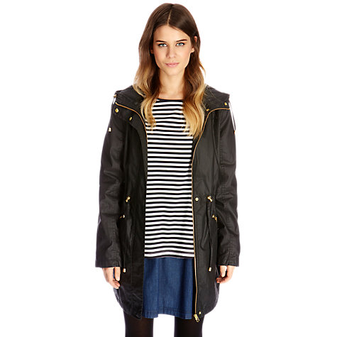 Buy Oasis Lightweight Wax Parka Coat, Black Online at johnlewis.com