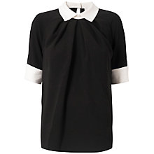 Buy Almari Contrast Collar Top, Black/White Online at johnlewis.com