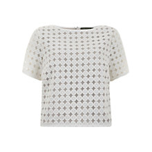 Buy Mint Velvet Circles Mesh Top, Ivory Online at johnlewis.com