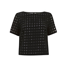 Buy Mint Velvet Circles Mesh Top, Black Online at johnlewis.com