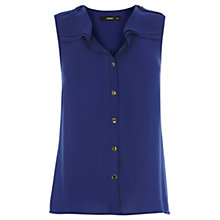 Buy Oasis Sleeveless Frill Shirt, Rich Blue Online at johnlewis.com