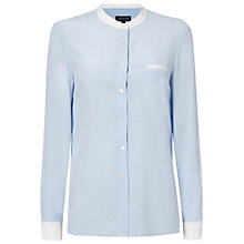 Buy Jaeger Collarless Shirt, Pale Blue Online at johnlewis.com