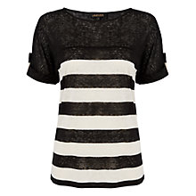Buy Jaeger Linen Jersey Top, Black / White Online at johnlewis.com