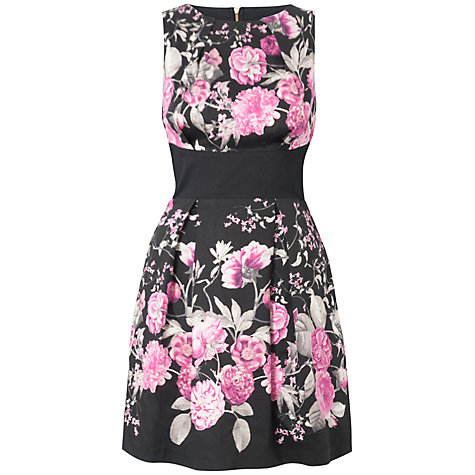 Buy Almari Floral Pleat Dress, Black/Pink Online at johnlewis.com