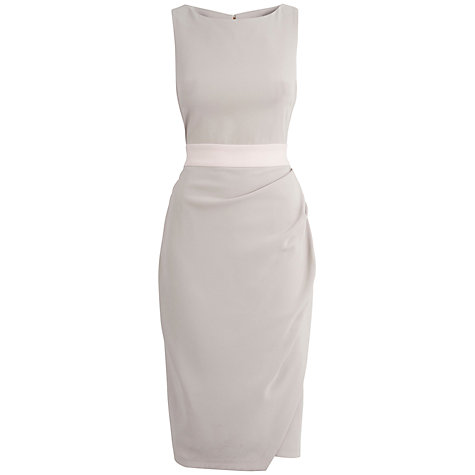 Buy Closet Drape Detail Ribbon Dress, Pale Grey Online at johnlewis.com