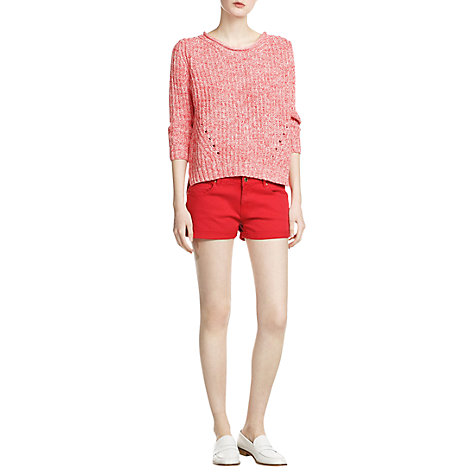 Buy Mango Denim Shorts, Bright Red Online at johnlewis.com