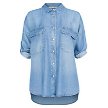 Buy Mango Tencel Two Pocket Shirt, Medium Blue Online at johnlewis.com