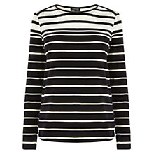 Buy Warehouse Stripe Zip Shoulder Crew Top, Black Stripe Online at johnlewis.com