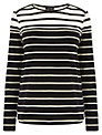 Warehouse Stripe Zip Shoulder Crew Top, Black Stripe