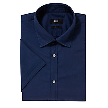 Buy BOSS Marco Plain Short Sleeve Shirt, Navy Online at johnlewis.com