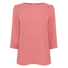 Buy Oasis Drape Sleeve Top, Coral Online at johnlewis.com