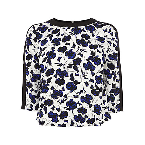 Buy Warehouse Floral Block Sleeve T-Shirt, Multi Online at johnlewis.com