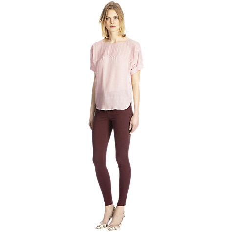 Buy Warehouse Crochet Yoke Oversized T-Shirt, Light Pink Online at johnlewis.com