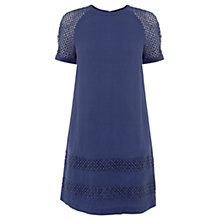 Buy Warehouse Lace Insert Shift Dress, Navy Online at johnlewis.com
