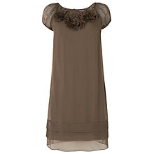 Buy Phase Eight Rosette Silk Dress, Khaki Online at johnlewis.com