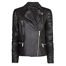 Buy Mango Leather Quilted Biker Jacket, Black Online at johnlewis.com