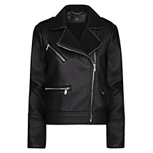 Buy Mango Textured Biker Jacket, Black Online at johnlewis.com