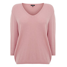 Buy Warehouse V-Neck Waffle Stitch Jumper, Light Pink Online at johnlewis.com
